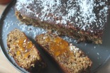 Gluten free banana, flax seed, pumpkin seed and goji berry bread (with festive coconut sprinkles)